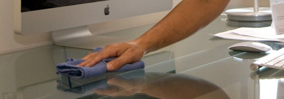 Commercial Cleaning HAND WIPING DESK
