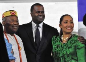 (L to R) Chair: (Atlanta—ALSCC) Professor Emeritus Augustine O. Esogbue; Kasim Reed, Mayor of the City of Atlanta; Chair: of Atlanta-Port of Spain Sister City Committee (APSCC) Karen Clarke